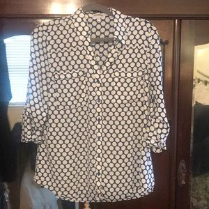 Express blue and white dot blouse